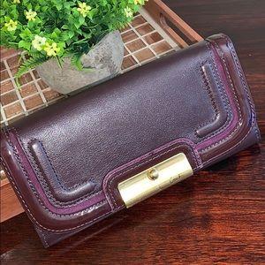 Unique Coach plum leather envelope clutch/wallet